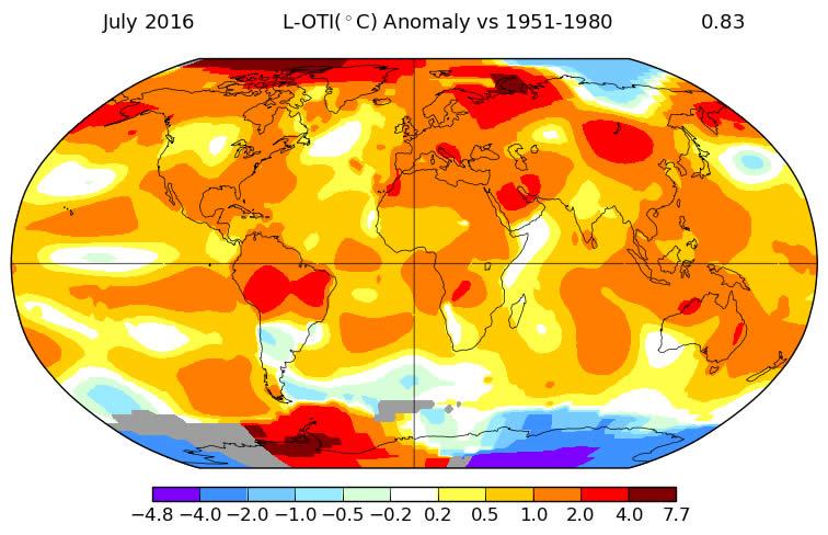 Mapa de variación das temperaturas nas distintas zonas do noso planeta / NASA/GISS.