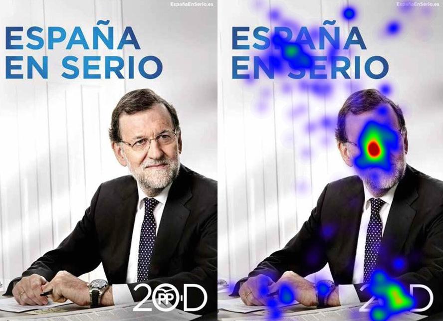 Mapa de calor co seguemento visual do cartel de Mariano Rajoy.