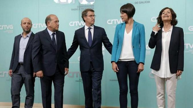 Os candidatos dos cinco principais partidos, no debate celebrado na TVG.