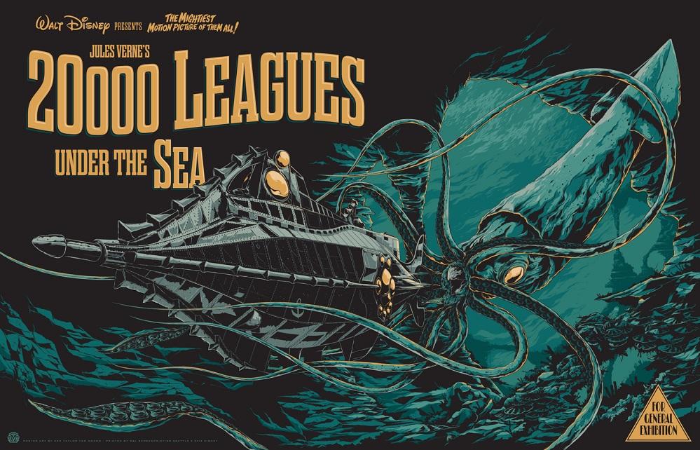 Cartaz do filme de Disney sobre 20.000 leguas baixo dos mares.
