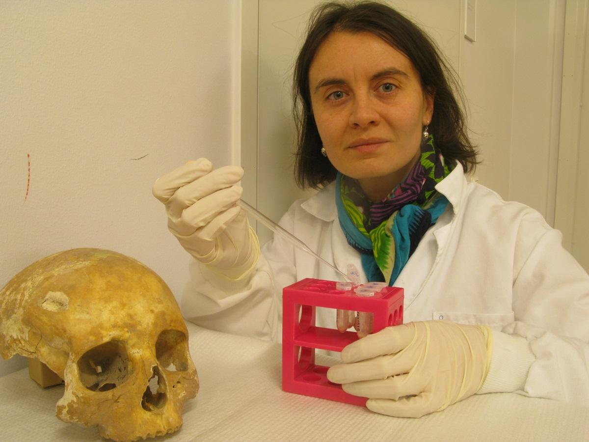 Olalla López, estudando o cranio de Cornelia.