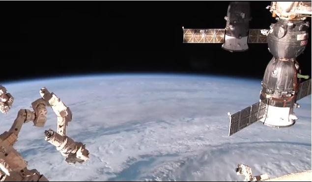 Vista do vídeo en directo dende a ISS.