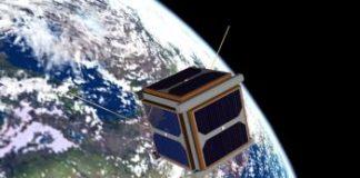 Recreación do Humsat da Universidade de Vigo orbitando no espazo.