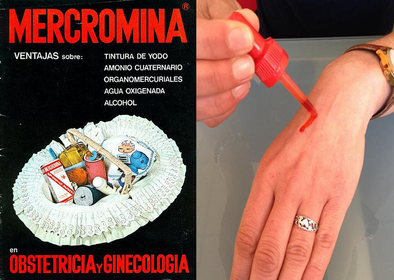 La mercromina o Cromer, con su marca roja.