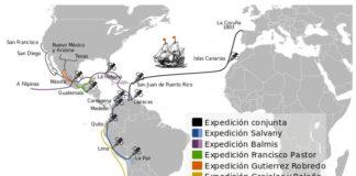 Ruta da Real Expedición da Vacina desde A Coruña. Gráfico: Ecelan
