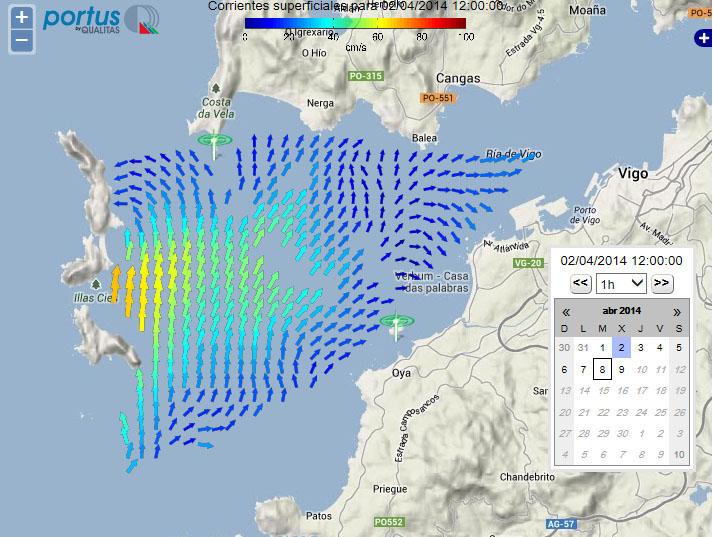 Imaxe do radar de correntes que ofrece o Campus do Mar.