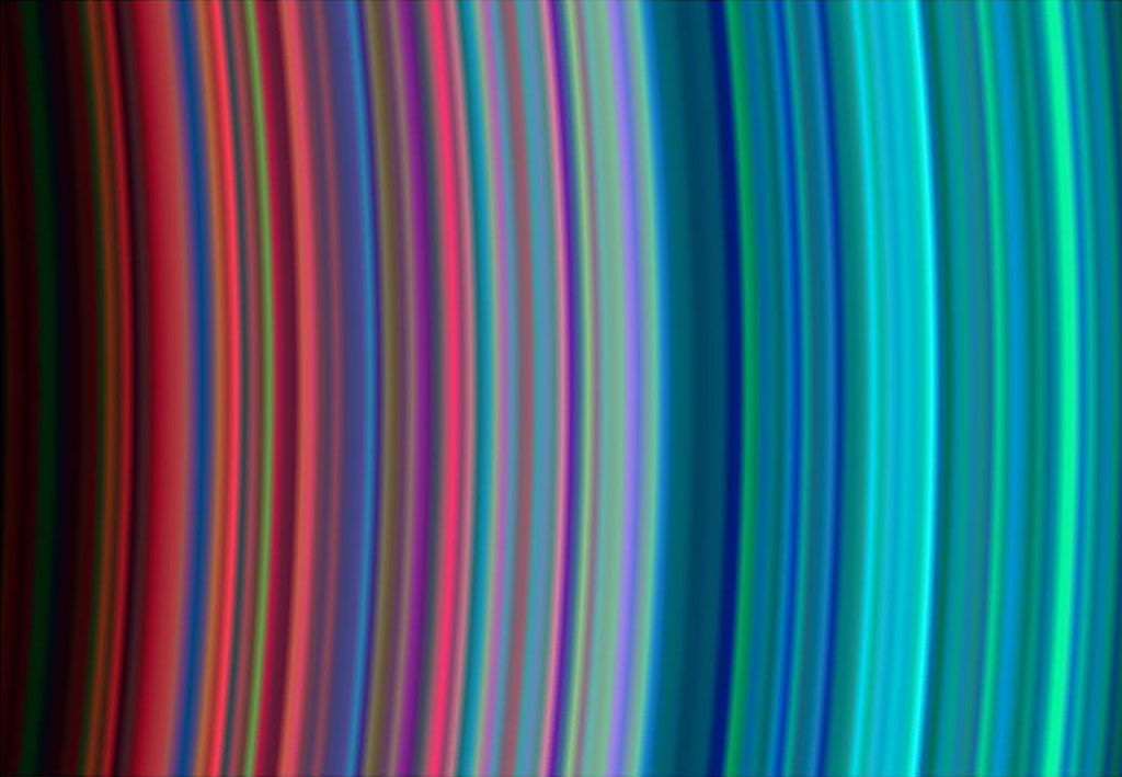 Gama de cores dos aneis de Saturno captada por Cassini. |Foto: NASA/JPL/University of Colorado.