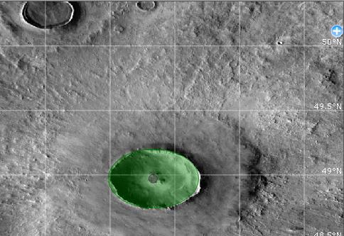 O cráter Viveiro, no planeta Marte.