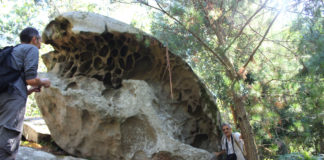 Unha rocha erosionada polo mar na illa de Tambo. Foto: Duvi.
