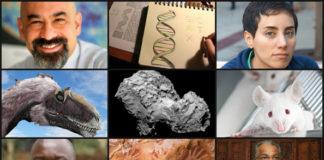 No sentido das agullas do reloxo: David Spergel, as novas letras do alfabeto xenético, a matemática Maryam Mirzakhani, ratos de laboratorio sen malos recordos, o enxeñeiro espacial Koppillil Radhakrishnan, as pinturas rupestres de Indonesia, o médico falecido por ébola Sheik Humarr Khan e a evolución dos dinosauros en aves. No centro, o cometa visto por Rosetta
