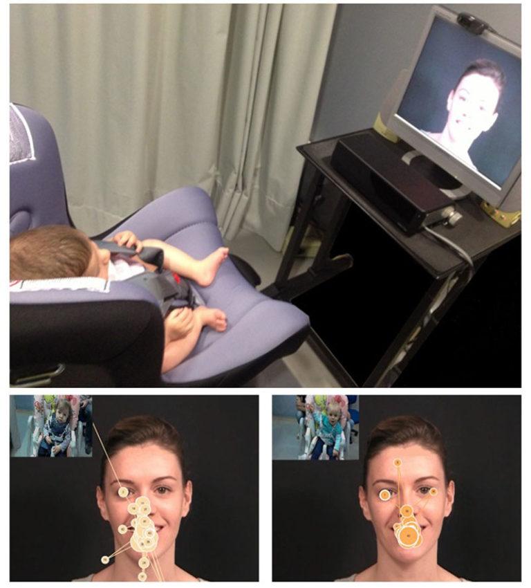 Imaxe dos bebés durante o experimento coa tecnoloxía de seguimento ocular. Os círculos da foto da esquerda indican o número de miradas, e os da imaxe da dereita, a duración destas.
