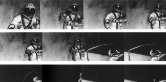 Alexei Leonov, no primeiro paseo espacial, en 1965