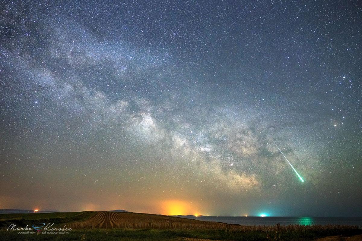 Meteoro na Vía Láctea