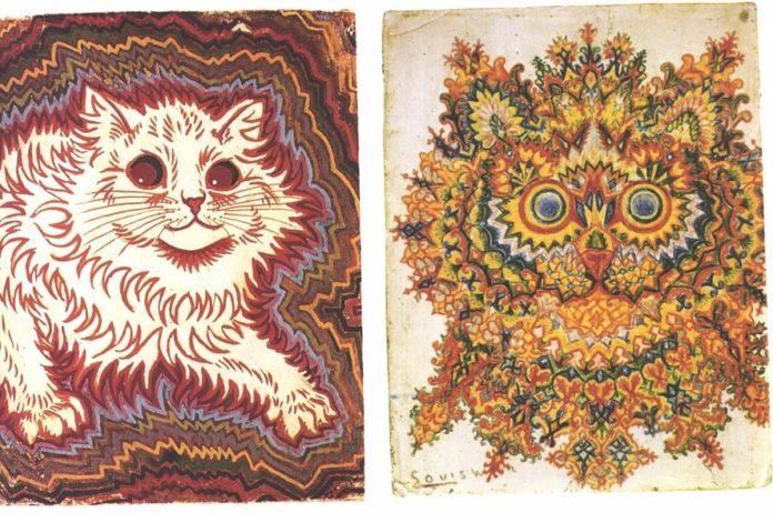 Gatos do pintor francés Louis Wain, obras nas que moitos psiquiatras teñen atopado rasgos de esquizofrenia.