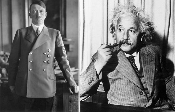 Adolf Hitler e Albert Einstein, o bó e o malo da historia universal.
