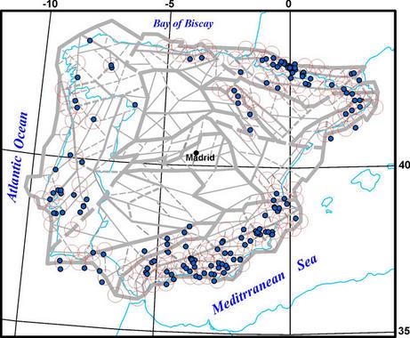 Mapa do estudo que engade Vigo e A Coruña ao triángulo sísmico de Lugo.