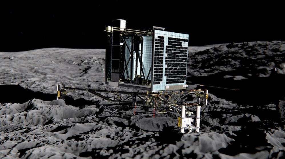 """Espertou o módulo Philae sobre o cometa. O Philae deu sinais de ter recuperado a súa actividade tras un letargo de case sete meses sobre a superficie do cometa 67P/Churyumov-Gerasimenko, segundo informaron fontes do Centro Nacional de Estudos Espaciais (CNES). A sonda Rosetta, que orbita a uns 20 quilómetros do cometa, recibiu a pasada noite un curto sinal duns 40 segundos procedente de Philae, o que indicaría que as súas baterías se reactivaron e que o aparato puido resistir as condicións climáticas e ambientais. """"Ola Terra. Podes oírme?"""", tuiteó a misión Philae Lander, para preguntar despois, no seu habitual ton desenfadado, produto da súa programaciónovan personalizada: """"Canto tempo estiven durmido?"""". """"A boa noticia chegou no medio da noite, cando Philae respondeu ás nosas chamadas. Tivemos ao redor de dous minutos de enlace entre Rosetta e Philae, e 40 segundos de datos. Agora hai que analizar todo isto, pero Philae vive"""", explicou o presidente do CNES, Jean-Yves Le Gall."""