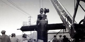 Botadura do submarino de Sanjurjo Badía en Vigo, en 1898.