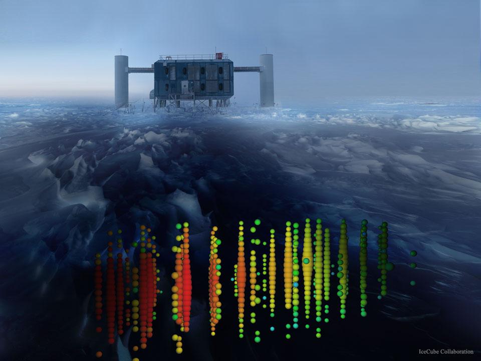 Créditos da imaxe: IceCube Collaboration, U. Wisconsin, NSF.