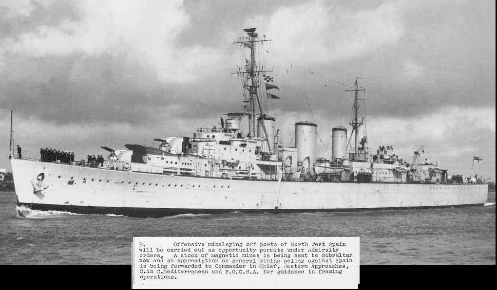 Buque da Royal Navy da clase Abdiel para o minado de portos. Debaixo, recorte das ordes secreta para minar Vigo e Ferrol.