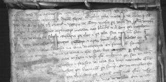 Un dos documentos medievais atopados na catedral de Ourense.