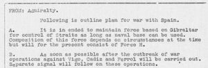 Documento secreto desclasificado en 2013 sobre o minado dos portos galegos.