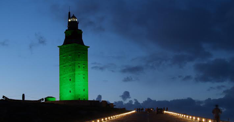 A torre de Hércules lucirá de verde.