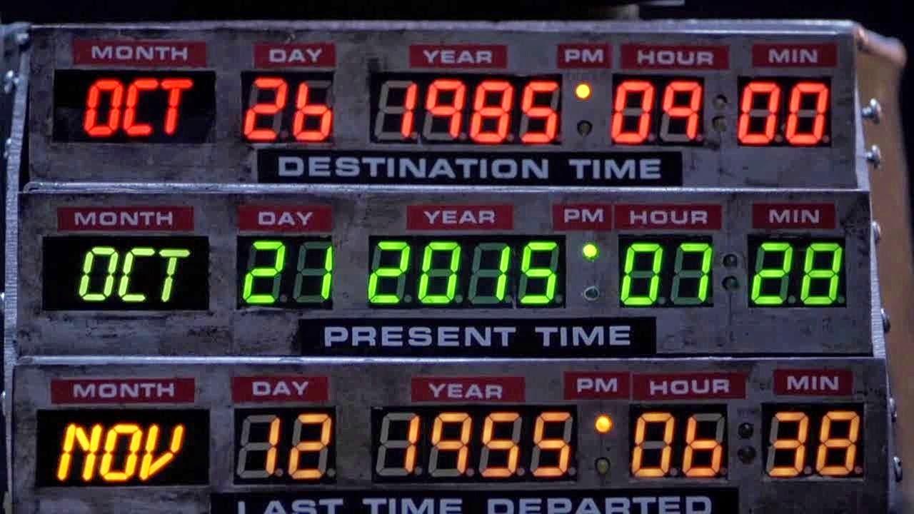 Consola do Delorean coa data á que chega Marty McFly: 21 de outubro de 2015.