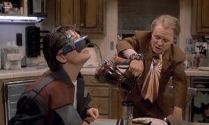 Gafas de realidade aumentada, anticipo das Google Glasses.