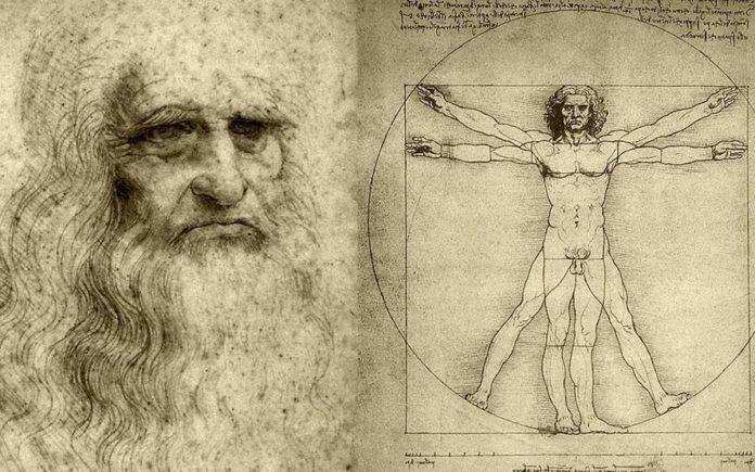 Leonardo da Vinci, Homo Universalis, xunto ao home de Vitruvio.