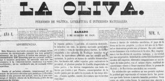 Primeira páxina de 'La Oliva', xornal capital no Rexurdimento.