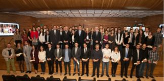 Os premiados, no acto de entrega dos Premios Fin de Carreira 2015.