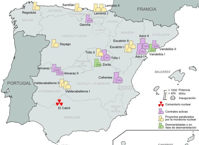 Centrais nucleares en España: operativas, proxectos paralizados e en desmantelamento.