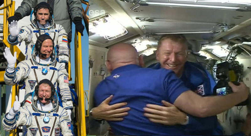 Os astronautas antes do despegue na Soyuz e recibidos na ISS.