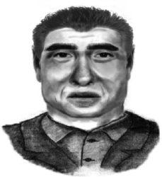 Retrato-robot do asasino de Eva Blanco distribuído pola policía.