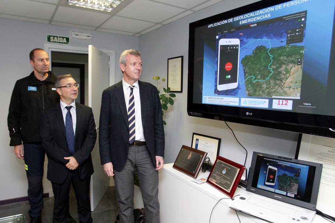O vicepresidente da Xunta, Alfonso Rueda, acompa–ado do director xeral de Emerxencias e Interior, Luis Menor Ž o xerente da AXEGA, Juan JosŽ Mu–oz presentar‡n a aplicación Alpify.