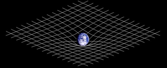 Unha representación da curvatura do espacio-tiempo.
