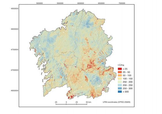 Mapa do carbono nos solos de Galicia.