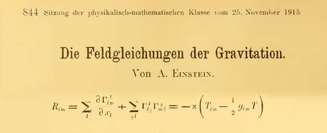 A ecuación de Einstein publicada nas Actas da Academia Prusiana de Ciencias.