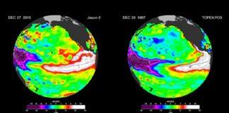Mapa co fenómeno de El Niño.