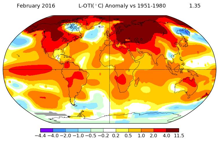Mapa comparativo de febreiro de 2016 elaborado pola NASA.