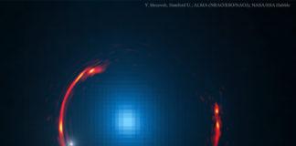 Créditos da imaxe: Y. Hezaveh (Stanford) et al., ALMA (NRAO/ESO/NAOJ), NASA/ESA Hubble Space Telescope