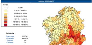 A aplicación permite buscar o teu apelido en Galicia e atopar os concellos onde é máis frecuente.