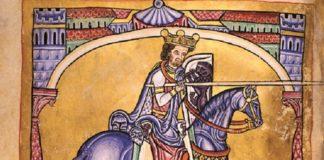 Alfonso IX de León, de a cabalo.