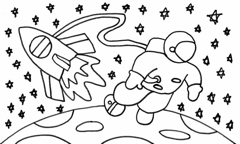 Debuxo dun escolar de Poio seleccionado para viaxar ao espazo.