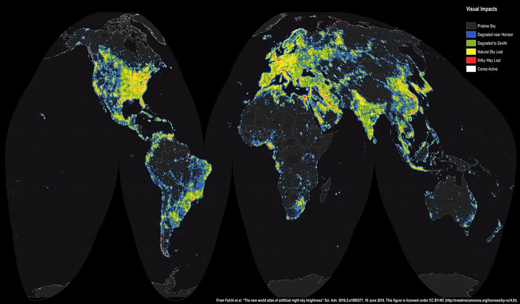 Créditos da imaxe e licenza: F. Falchi et al., Light Pollution Atlas, ISTIL
