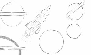 Debuxo dun cativo de Celanova que viaxará co telescopio Cheops.
