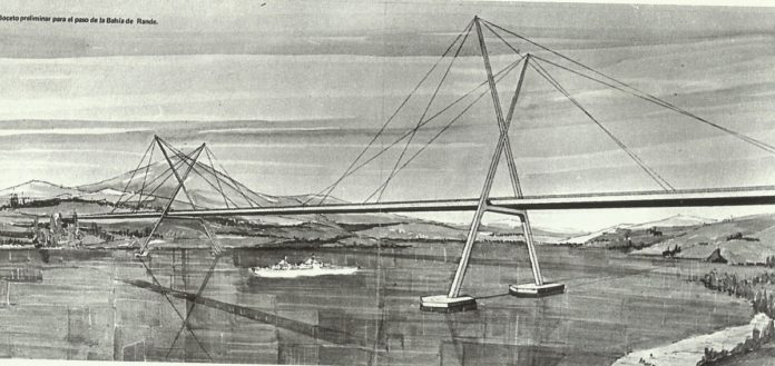 Proxecto primitivo da ponte de Rande presentado por Gerardo Campos.