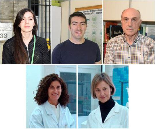 De esquerda a dereita e de arriba a abaixo: Victoria Martínez, Ricardo Orbegozo e Florencio Martínez Ubeira (USC); e Marta González e Mercedes Mezo /Ingacal.