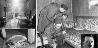 Imaxes do búnker de Berlín onde Hitler morreu.